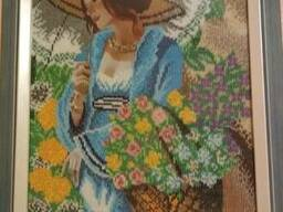 """Картина """"Девушка в шляпе"""", вышита бисером (ручная работа)"""